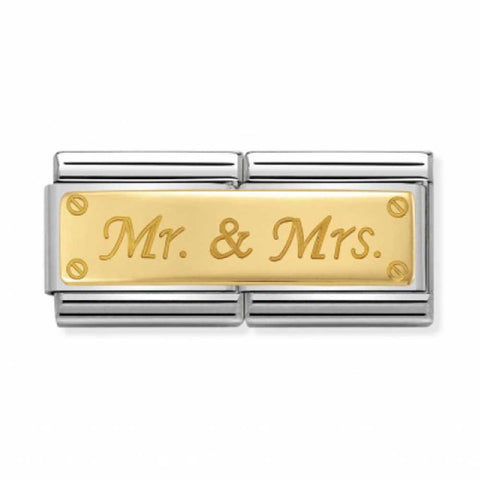 Nomination 18k Gold Mr & Mrs Double Link Charm 030710 11