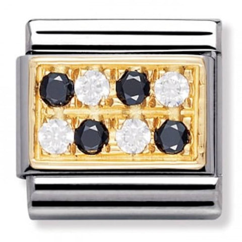 Nomination 18ct Gold Black & White Pavé Charm 030314 11
