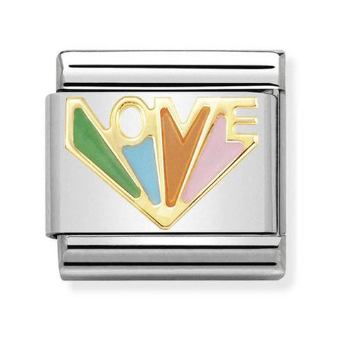Nomination 18ct Gold & Enamel Love Rainbow Charm 030272 37