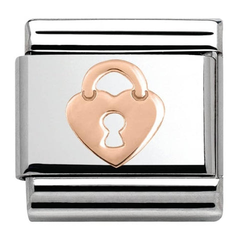 Nomination 9ct Rose Gold Heart Lock Charm 430104 15