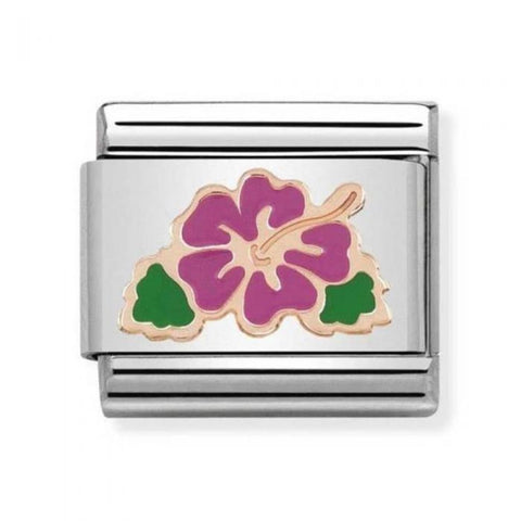 Nomination 9ct Rose Gold Fuchsia Hibiscus Charm 430202 04
