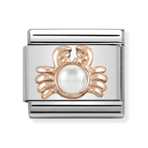 Nomination 9ct Rose Gold Crab with Pearl Charm 430511 01