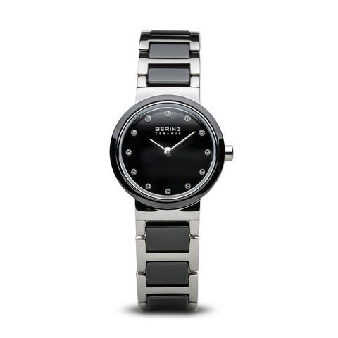 Bering Ladies Polished Silver & Black Ceramic Watch 10725-742