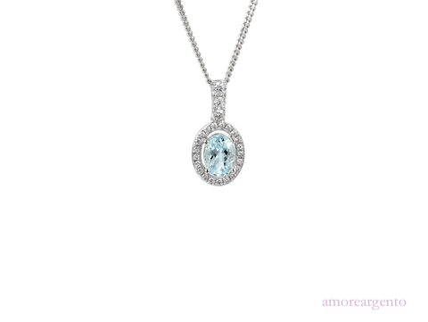 Amore Sterling Silver Aqua Blue Necklace