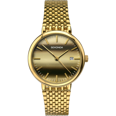 Sekonda Mens Gold Plated Bracelet Watch 1382 1006298