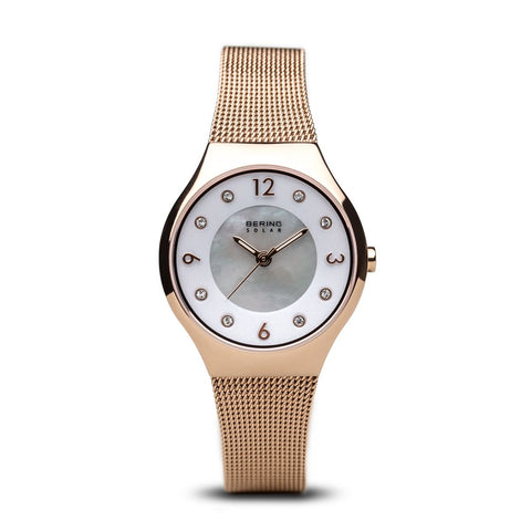 Bering Ladies Solar Polished Rose Gold Watch 14427-366