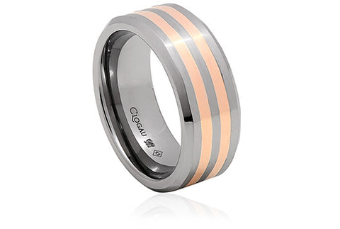 Clogau - Tungsten 1.5mm Double Band Rose Gold Ring 1TMR10 xxx