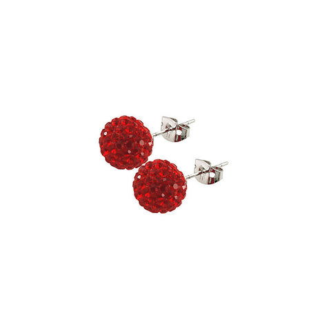Tresor Paris - Saint Remy 10mm Red Crystal Ball Stud Earrings