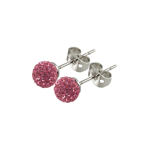 Tresor Paris - Proussy 10mm Pink Crystal Ball Stud Earrings