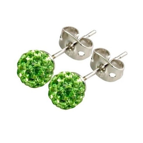 Tresor Paris - Le Bisson Green Crystal 10mm Stud Earrings 016073