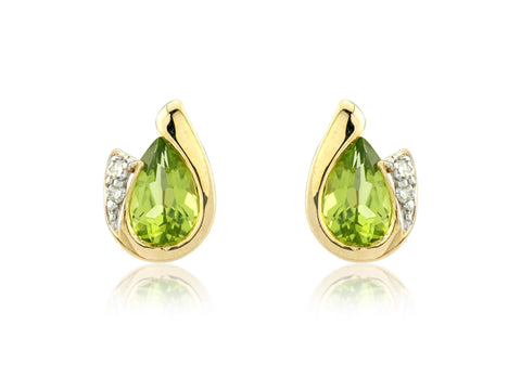 9ct Gold Peridot & Diamonds Curl Stud Earrings CH038-7YDP 0303297