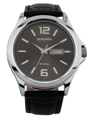 Sekonda Mens Black Leather Strap Watch 1655