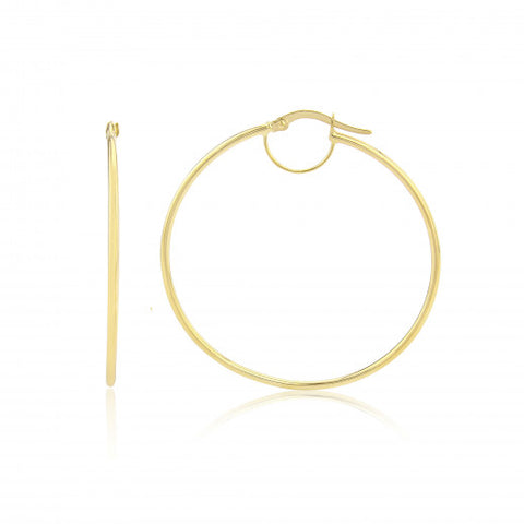 9ct Gold Medium Plain Hoop Earrings 8L30Q