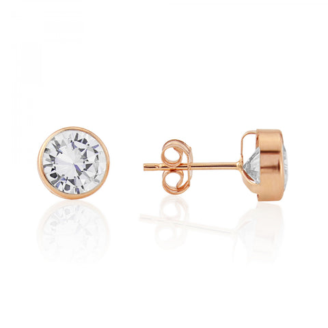 9ct Rose Gold CZ Stud Earrings 7Q67RCZ 0303310