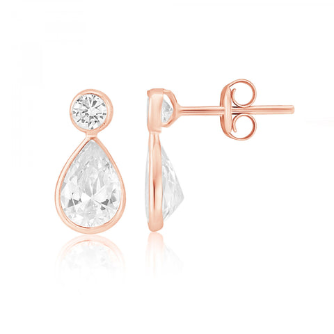 9ct Rose Gold CZ Stud Earrings 8H97RCZ 0304082