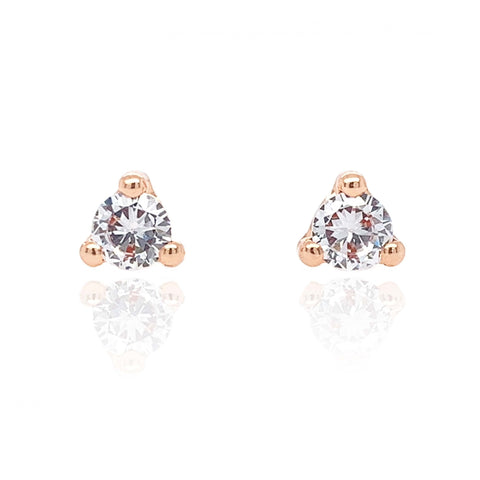 9ct Rose Gold CZ Trilliant Stud Earrings 8L48RCZ 0304081