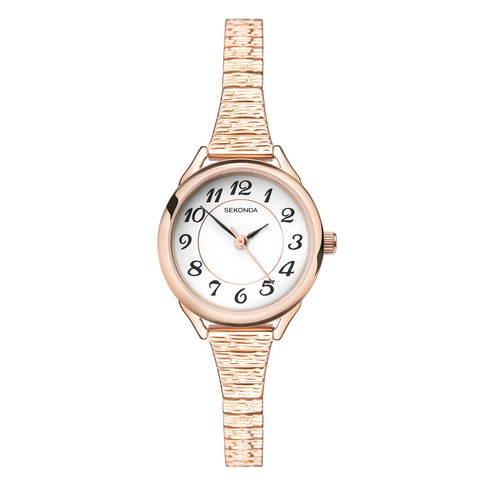 Sekonda Ladies Classic Rose Gold Plated Expander Watch 2639 1006351