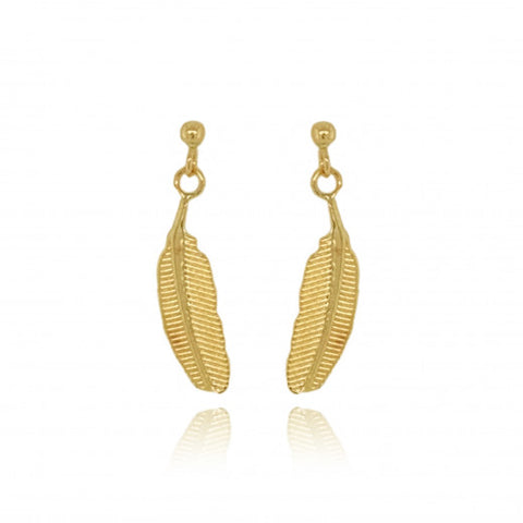 9ct Gold Feather Drop Earrings 8M49