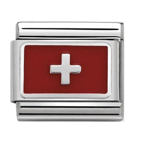 Nomination Silver & Enamel Switzerland Flag Charm 330207 17