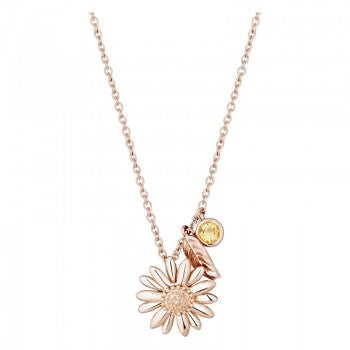 Daisy 18ct Rose Gold Vermeil 15mm Feather & Daisy Drop Pendant Necklace N3016