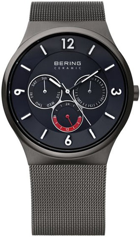 Bering Gents Ceramic Brushed Grey Watch 33440-077