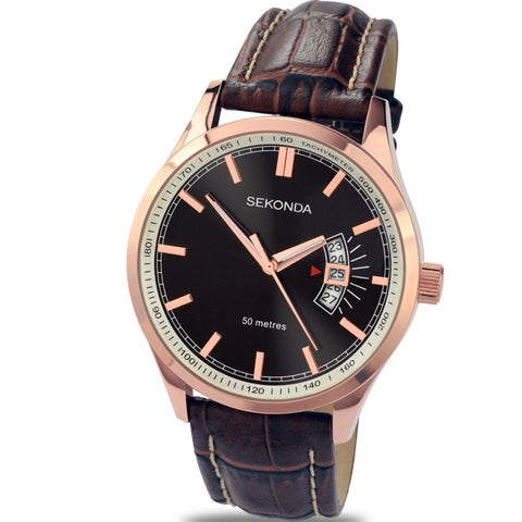 Sekonda Mens Brown Leather Strap Watch 3411 1006109