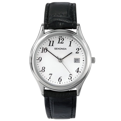 Sekonda Mens Black Leather Strap Watch 3473 1006128
