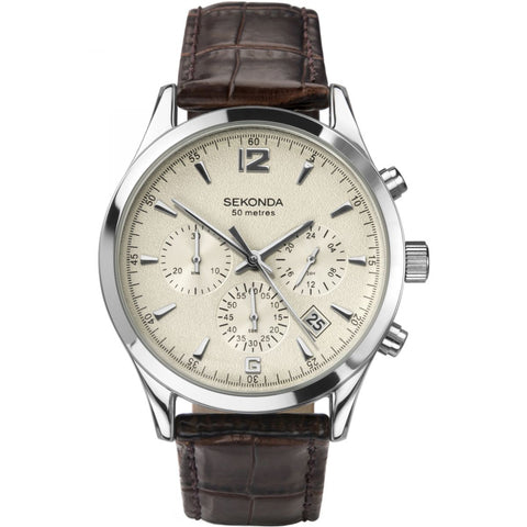 Sekonda Gents Chronograph Brown Leather Strap Watch 3487 1006123