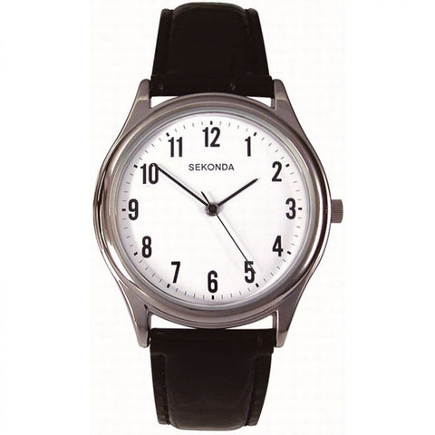 Sekonda Mens Black Leather Watch 3621 1006052