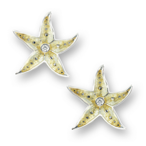 Nicole Barr - Sterling Silver 20mm Yellow Starfish Stud Earrings with Diamonds NN0275WB