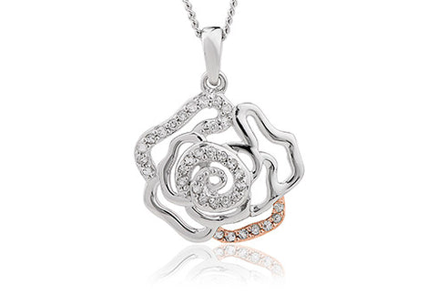 Clogau - Royal Roses White Topaz Pendant Necklace 3SRORP3