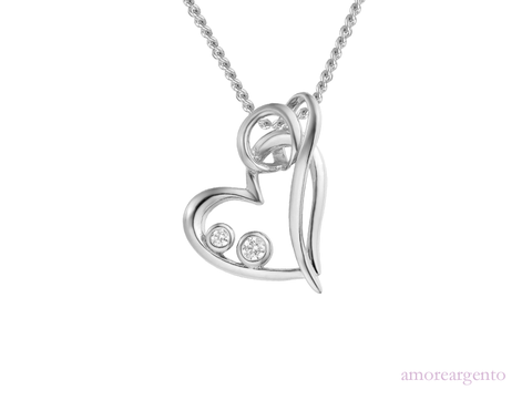 Amore Sterling Silver Hearts Entwined Necklace