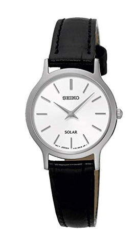 Seiko Black Leather Solar Ladies Watch SUP299P1