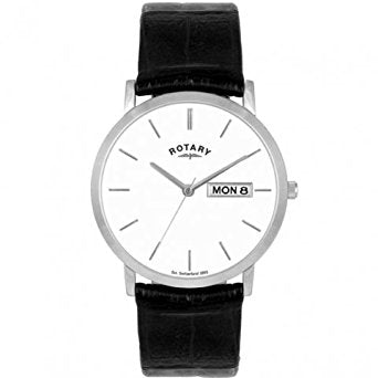 Rotary Mens Stainless Steel Black Leather Strap Watch GS102622/06/DD