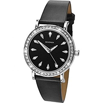 Sekonda Ladies Black Leather Strap Watch 2025 1006259