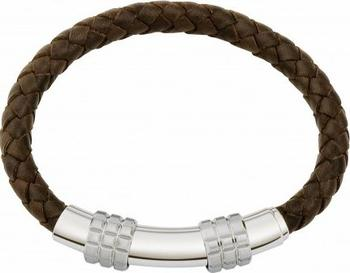 Jos Von Arx - Leather & Steel Adjustable Bracelet INB19