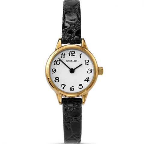 Sekonda Gold Plated Ladies Black Leather Watch 4473 1006011
