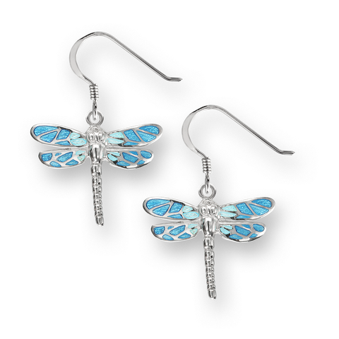 Nicole Barr - Sterling Silver 18mm Blue Dragonfly Wire Earrings SW0526A 0405019