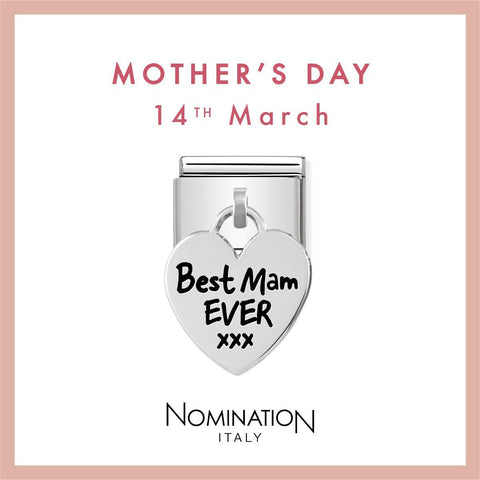 Nomination Limited Edition Silver Hanging Best Mam Ever Charm 331811 03