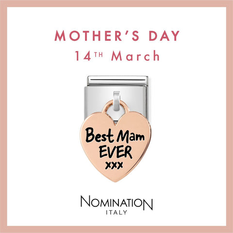 Nomination Limited Edition 9ct Rose Gold Hanging Best Mam Ever Charm 431802 03