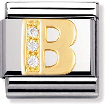 Nomination 18ct Gold & CZ Letter B Charm 030301 02
