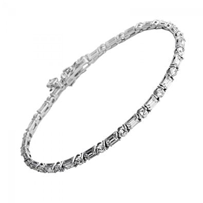 Diamonfire Sterling Silver with CZ Round & Baguette Full Bracelet 64/0442/1/082