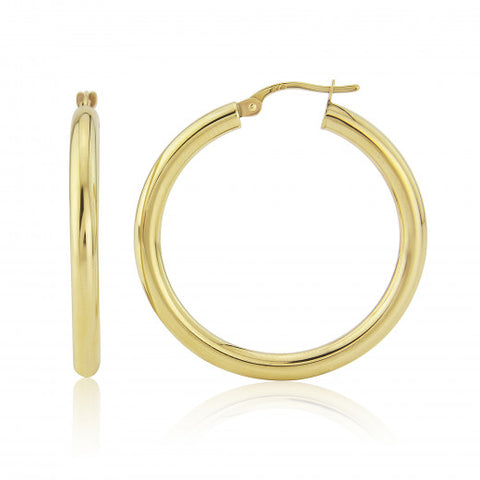 9ct Gold Large Hoop Earrings 8H67Q 0305465