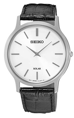 Seiko Black Leather Gents Solar Watch SUP873P1