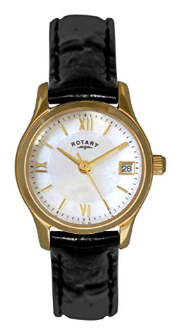 Rotary Ladies Black Leather Strap Watch LS02368/41