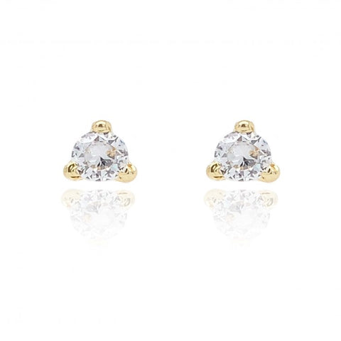 9ct Gold CZ Trilliant Stud Earrings 8L48CZ 0303307
