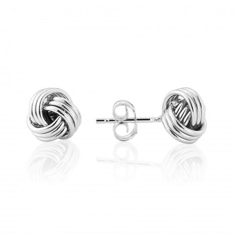 9ct White Gold Wool Mark Knot Stud Earrings 8G58W