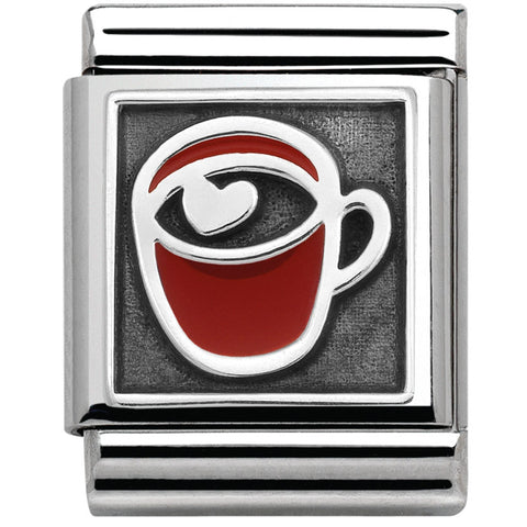 Nomination BIG Silver Red Cup with Heart Charm 332203 01