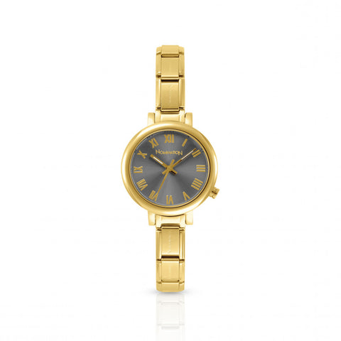 Nomination - Ladies Gold Plated Stainless Steel Watch with Grey Face 076020 018