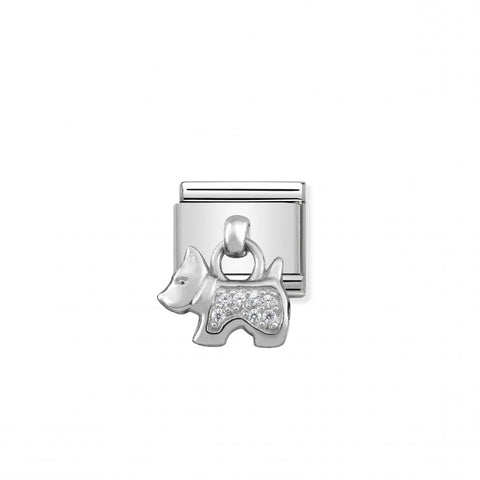 Nomination Hanging Silver & CZ Dog Charm 331800 09